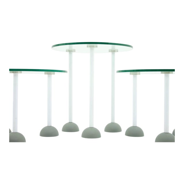 Set of Three Glass Tables With Wheels, Memphis, 1987 For Sale