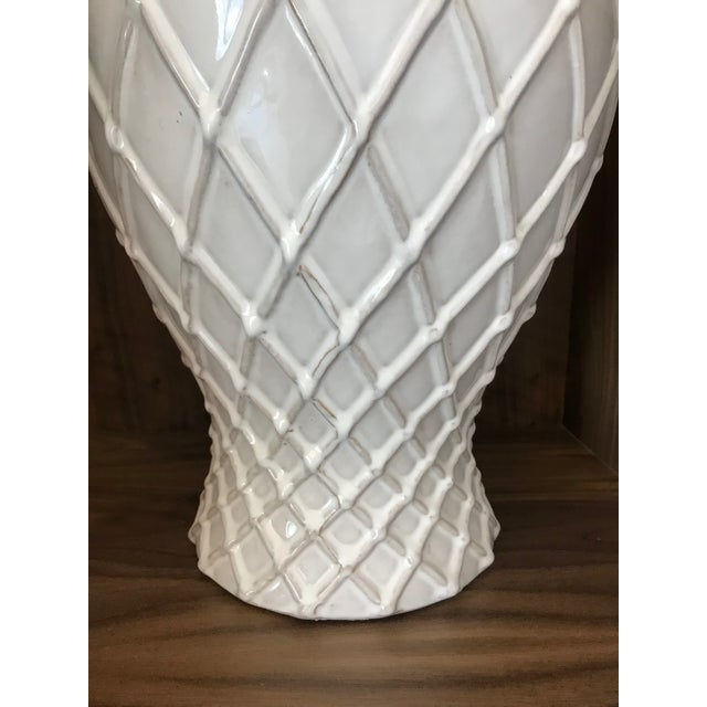 Exquisite Blanc De Chine Lidded Vase With Lattice Design, Italy For Sale In Miami - Image 6 of 12