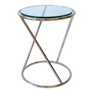 Modern Chrome and Glass Round Side or Drinks Table For Sale