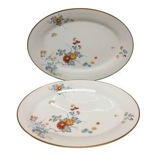 1960s Noritake Ming Oriental Chrysanthemum Pattern Oval Serving Platters - a Pair For Sale