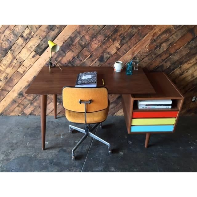 Mid-Century-Style Color Block Desk For Sale - Image 5 of 5