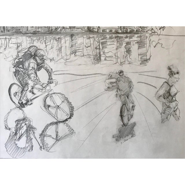 Figurative New York Manhattan Skyline Figures Drawing by Tom Christopher For Sale - Image 3 of 9