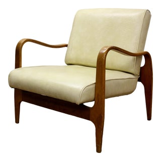 Mid-Century Thonet Bent Wood Vinyl Armchair For Sale