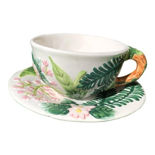 Victorian Majolica Oversized Ferns and Flowers Patterned Tea Cup and Saucer