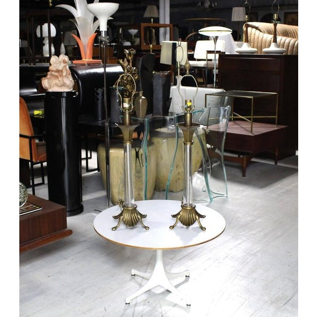 Pair of Chapman Art Deco Nouveau Brass and Glass Table Lamps Mid Century Modern For Sale - Image 9 of 9