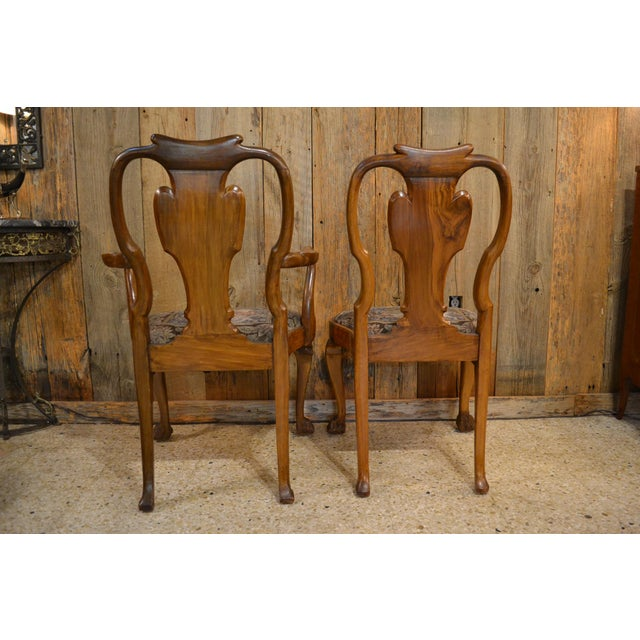 Set of 10 Antique English Queen Anne Burl Walnut Dining Chairs circa 1880 For Sale In New Orleans - Image 6 of 7