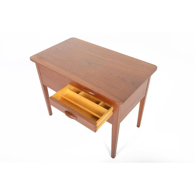 Danish Modern Teak Sewing Box With Basket For Sale - Image 7 of 10