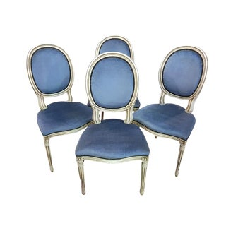 Set of Four Vintage Louis XVI Whitewashed Blue Velvet Medallion Dining Chairs For Sale