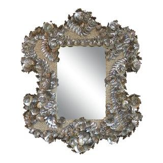 Palm Beach Chic Mother-Of-Pearl Shell Encrusted Mirror For Sale