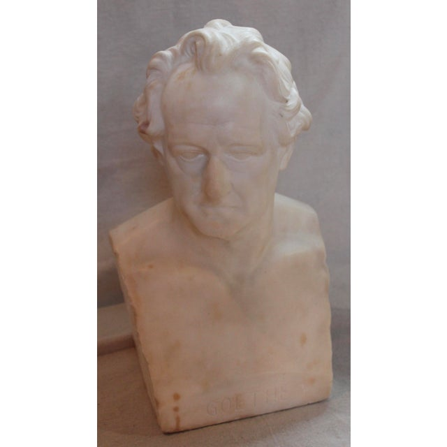 Neoclassical Johann Wolfgang Von Goethe Marble Bust Statue For Sale - Image 3 of 10
