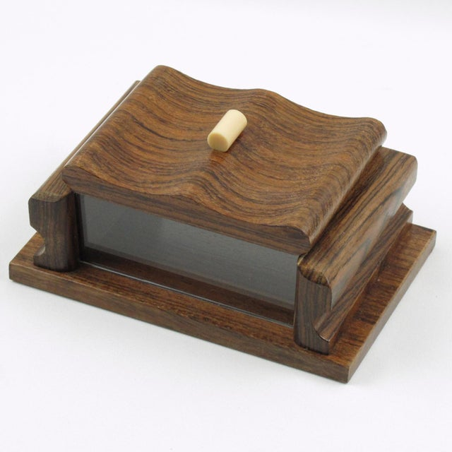 French 1950s Rosewood and Lucite Box For Sale - Image 4 of 7
