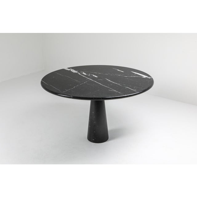 Angelo Mangiarotti black marble dining table, Model 'Eros' designed in 1971 in Italy. Elegant and sculptural piece....