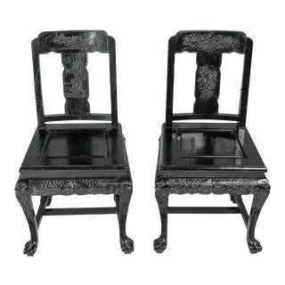 Mid Century Chinoiserie Side Chairs- A Pair For Sale