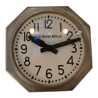1930s Mid-Century Furniture Octagonal Train Paris Railway Station Clock Brillie France For Sale