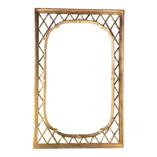 Hollywood Regency Faux Bamboo Gilt and Silvered Wood Mirror