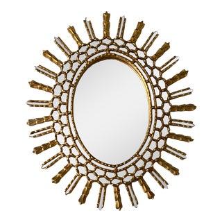 Vintage Gilt Wood Oval Sunburst Mirror For Sale