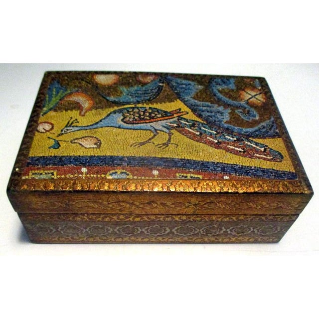 1970s Italian Florentine Decorative Box With Peacock Design For Sale In Tampa - Image 6 of 7