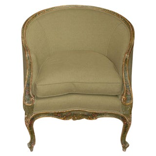 Mid 19th Century Painted and Gilt Bergere Chair For Sale