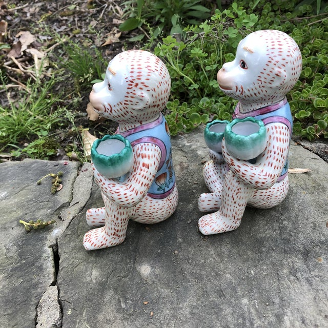 1980s Chinoiserie Monkey Candle Holder Figurines - a Pair For Sale - Image 4 of 9