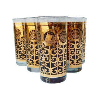 Gold & Black Highball Glasses - Set of 6