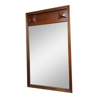 1960s Mid-Century Modern Sculpted Detailed Walnut Wall Mirror
