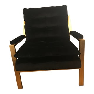 Contemporary Worlds Away Gold Leafed Black Velvet Side Chair For Sale