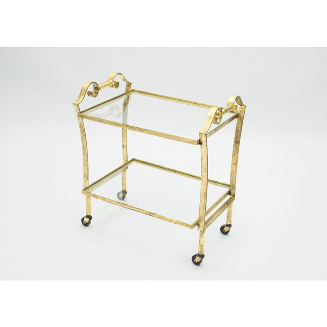French Neoclassical Maison Ramsay Gilded Iron Bar Cart 1940s For Sale - Image 12 of 12