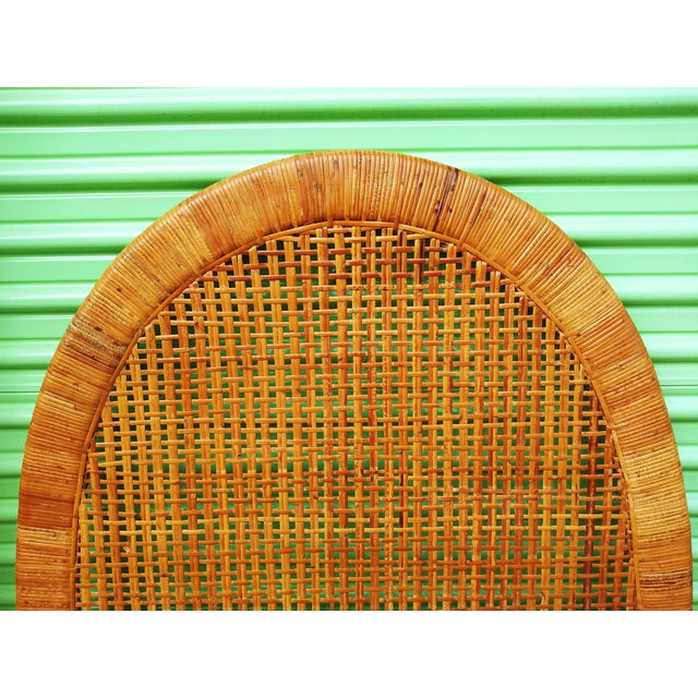 Classic Beachside Cottage Vibes. Extremely Well kept vintage pair of Handwoven Rattan Cane & Bamboo Twin Headboards. The...