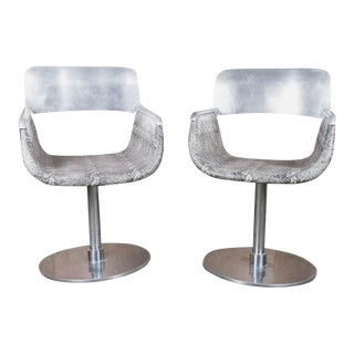 Italian Faux Python Swivel Chairs - a Pair For Sale