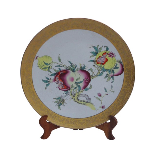 Chinese Porcelain Display Plate With Pomegranate Painting For Sale