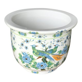 Vintage Chinoiserie Hand Painted Planter Pot For Sale