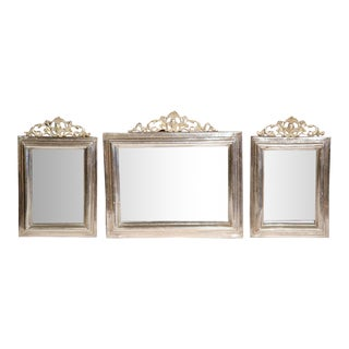 19th Century French Brass and Copper Silvered Mirrors - Set of 3 For Sale