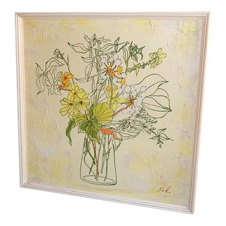 70's Citrus Yellow Floral Paintings - A Pair