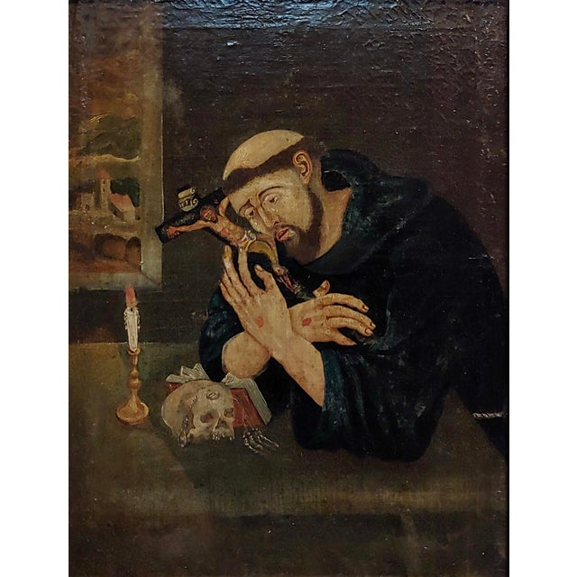 Spanish 18th Century Spanish Colonial- Saint Francis of Assisi -Oil Painting For Sale - Image 3 of 8