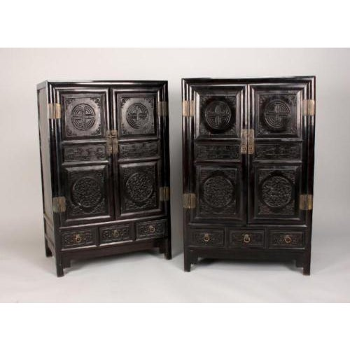 Antique Chinese Zitan Cabinets - A Pair - Image 2 of 11