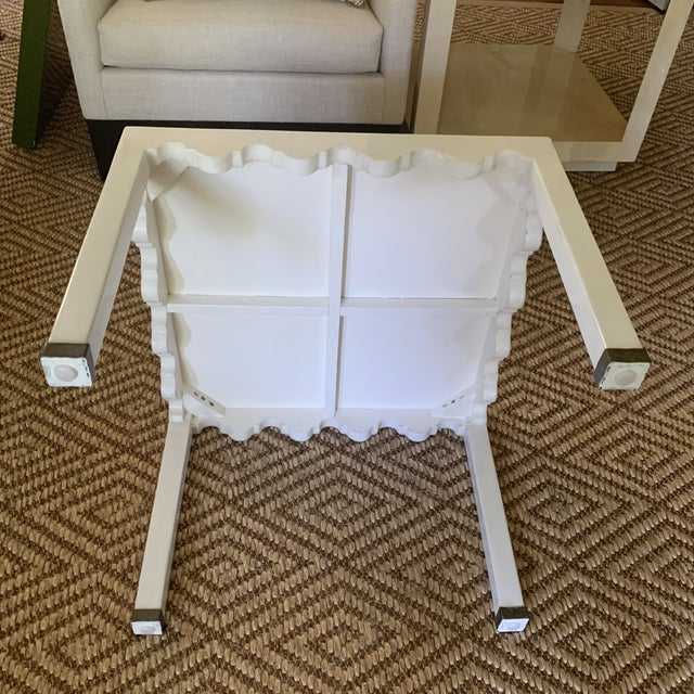 White White Lacquered Grass Cloth Moroccan Style Side Tables- a Pair For Sale - Image 8 of 12