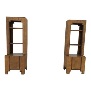 Woven Rattan Bookcases - A Pair