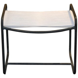 Walter Lamb for Brown and Jordan Re-Strung Bronze Tubular Stool For Sale