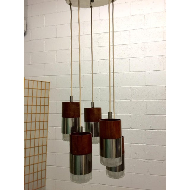 Chrome and Faceted Glass Five-Pendant Light Fixture - Image 4 of 4