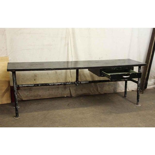 Wood Top Black Metal Work Table For Sale - Image 4 of 10