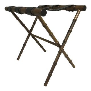 1960s Regency Faux Bamboo Leather Strap Folding Luggage Rack Stand For Sale