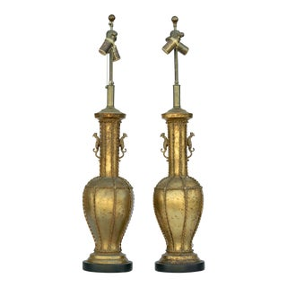 Pair of Gold Leaf Table Lamps For Sale