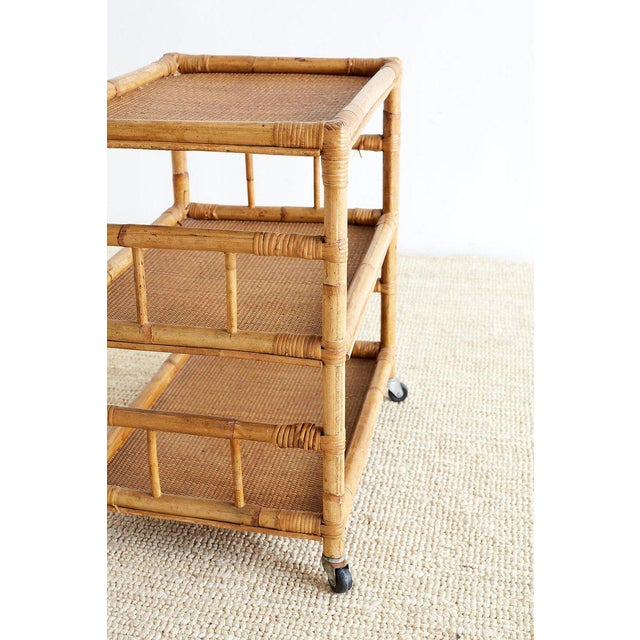 Bamboo and Raffia Rolling Three-Tier Serving Cart For Sale - Image 11 of 13
