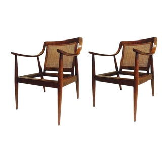Mid Century Modern Lounge Chairs With Cane Back Scoop Arms - a Pair For Sale