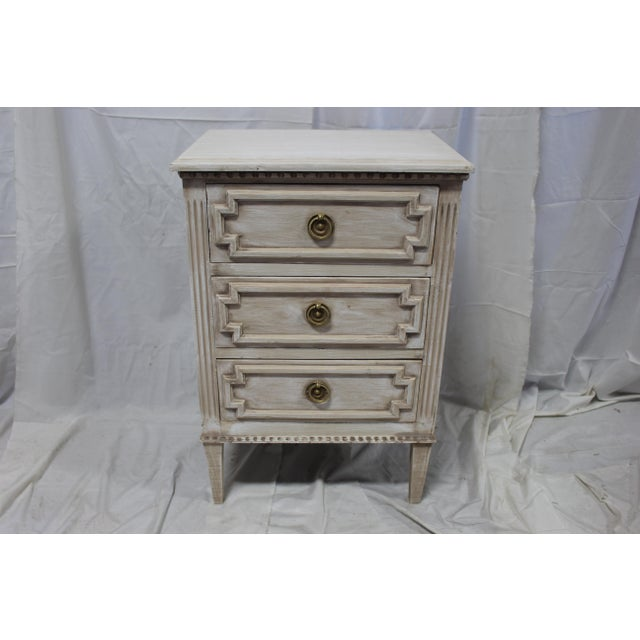 20th Century Swedish Gustavian 3-Drawer Nightstands - a Pair For Sale - Image 4 of 9