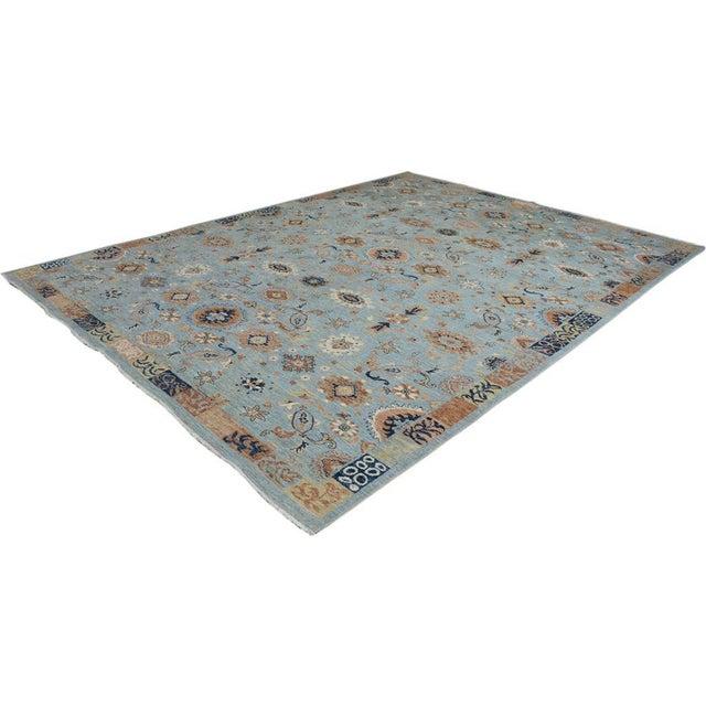 Textile Kafkaz Peshawar Reid Blue & Tan Wool Rug - 9'0 X 12'3 For Sale - Image 7 of 7