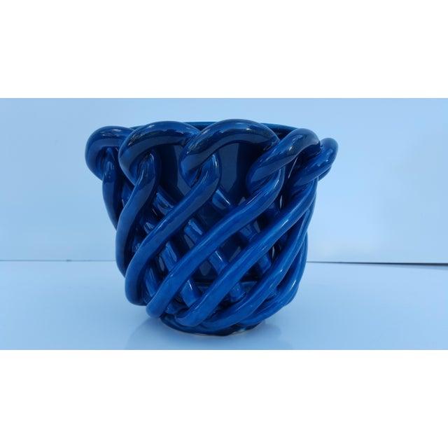 Mid-Century Modern Vintage Blue Turquoise Decorative Planter Pot. For Sale - Image 3 of 8
