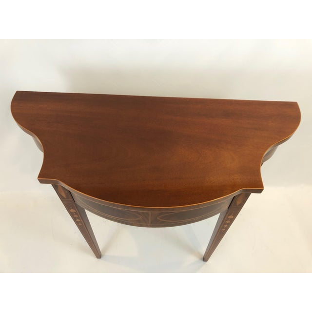 Wood Serpentine Flame Mahogany and Inlaid Console Table For Sale - Image 7 of 10