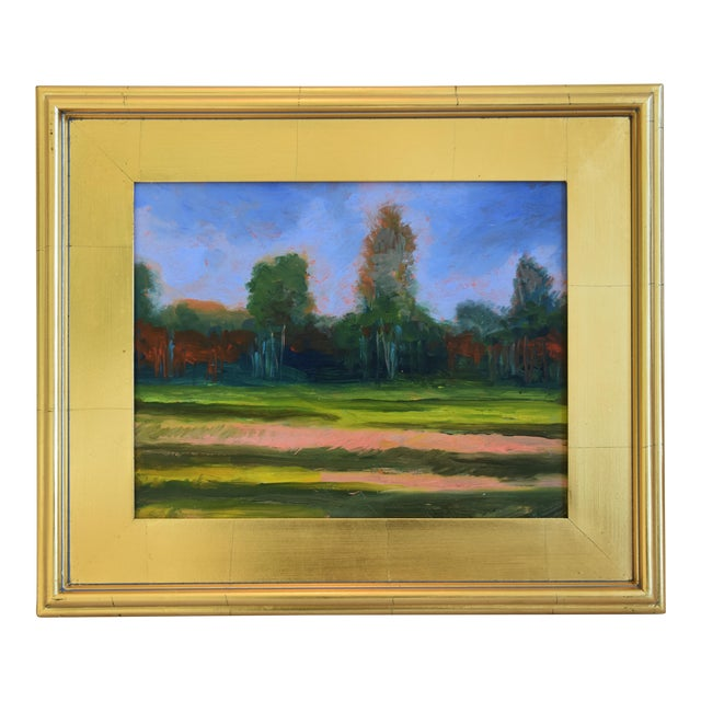 California Plein Air Foothills & Meadow Oil Painting W/ New Gold Leaf/Gilt Frame For Sale