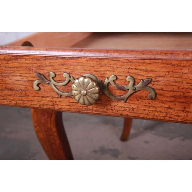 Gold Vintage French Provincial Louis XV Style Oak Writing Desk by Hickory For Sale - Image 8 of 13